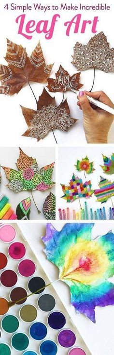 Making autumn decoration yourself - 15 DIY craft ideas for the third season - Basteln - Diy Creative ideas Kids Crafts, Fall Crafts, Diy And Crafts, Arts And Crafts, Autumn Crafts Preschool, Diy Y Manualidades, Painted Leaves, Leaf Art, Nature Crafts