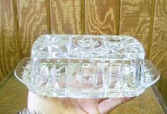 Vintage Pressed Cut Glass Butter Dish Star of by tithriftstore