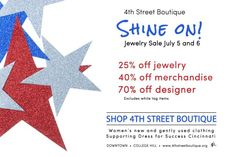 4th Street Boutique - shop the jewelery sale July 5 & 6 and support Dress for Success Cincinnati