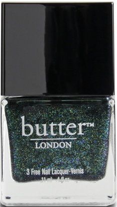 JACK THE LAD NAIL LACQUER: Opaque, moss green shimmer with gold, turquoise, and green microglitter. | butter LONDON