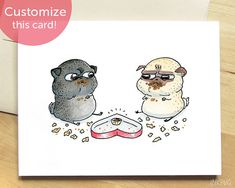 Chocolate Standoff pugs Valentine's Day card - cute dog Valentines card, funny Anniversary card, personalized funny love card by Inkpug Pug Valentine, Valentines Day Card Funny, Fat Pug, Pug Cartoon, Funny Love Cards, Funny Anniversary Cards, Pugs And Kisses, Pug Art, Pug Pictures