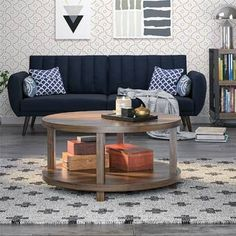 Carolyn Coffee Table with Storage Garden Coffee Table, Solid Wood Coffee Table, Walnut Coffee Table, Coffee Table With Storage, Round Coffee Table, Circular Table, Decorating Coffee Tables, Living Room Sets, Home Decor