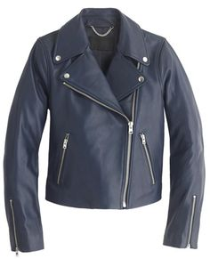 J.Crew leather bomber jacket in blue