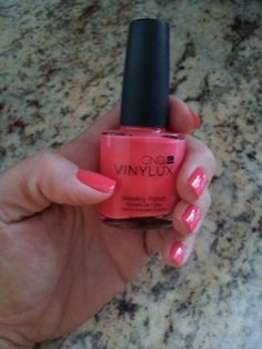 CND Vinylux Tropix. This is the greatest polish ever for natural nails. For 7 days I worked in the salon doing hair, worked in the garden, and went camping and had very minimal chipping. Find your nearest manicurist.