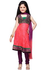 Dark Old Rose Chantelle Net Readymade Anarkali Churidar Kameez