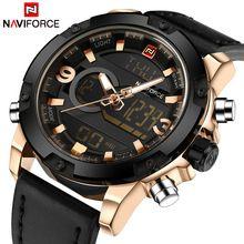 6d73682d68d Naviforce marca de luxo de couro dos homens analógico digital sports  relógios dos homens do exército