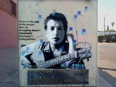 9 Layer Bob Dylan Stencil on a electric box by Free Humanity To be on the side of the people who are strugglingdoesn't necessarily mean you're being political-Bob Dylan 9 layer stencil on electric box in Hollywood L.A