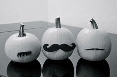 56 Brilliant No Carve Pumpkin Decoration Ideas: White with black moustaches