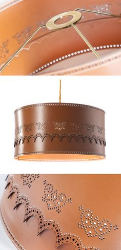 Leather 'Brogue' lampshade by British designer Daniel Schofield