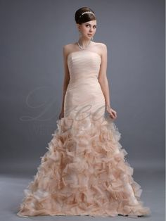 Love, Love, Love...Strapless Organza Floral Petal Gown