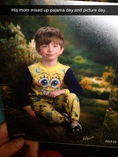 His mom mixed up picture day and pajama day, LOL