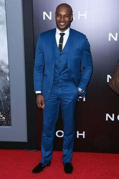 Cobalt blue suit with contrasting orange tie | Wardrobe ...