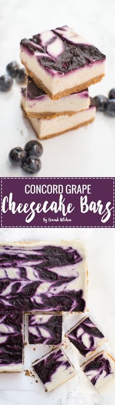 Fresh, sweet and tart concord grapes are made into the perfect fruit puree to top these square creamy Concord Grape Cheesecake Bars. Cheesecake Bars, Cheesecake Recipes, Dessert Recipes, Concord Grape Recipes, Fruit Puree, Brownie Bar, Just Desserts, Sweet Tooth, Sweet Treats