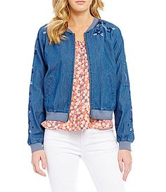 Copper Key Embroidered Chambray Bomber Jacket #Dillards