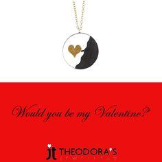 Handmade heart silver necklace. The round pendant made of silver, black rodium and gold plated sterling silver is hanging on gold plated silver thin chain----------------------------------------------------------------Χειροποίητο ασημένιο κολιέ καρδιά από ασήμι, ασήμι με μαύρο πλατίνωμα και επιχρύσωμα. Το στρογγυλό μενταγιόν είναι περασμένο σε χειροποίητη αλυσίδα κρίκο κρίκο από επιχρυσωμένο ασήμι. Ένα πρωτότυπο κολιέ καρδιά που θα κλέψει τις εντυπώσεις!