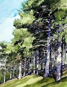 Some of the Most Common Landscape Design Features Watercolor Landscape Paintings, Watercolor Trees, Watercolor And Ink, Watercolor Illustration, Watercolour Painting, Landscape Art, Painting & Drawing, Watercolor Portraits, Watercolours