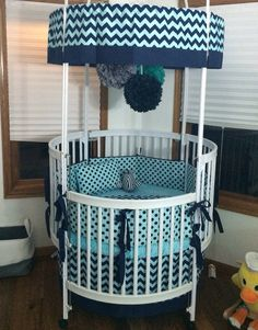 Aqua & Navy Round Crib Bedding Set by ButterBeansBoutique. Gorgeous round crib sets for the unconventional decorator.