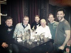 Tweet: @StephenJHunter1 - The lads out on the town for @BrownAds birthday! @Deanogormano #thehobbit Aidan Turner
