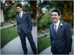 groom laughing, checked tie