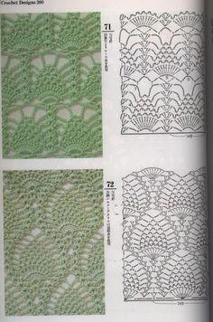 crochelinhasagulhas: Dozens of pineapple stitch crochet diagrams.