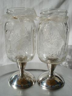 Mason Jar Wedding Toasting Glasses Wine Glasses Goblets on Vintage Silver Plated Candlesticks. $33.00, via Etsy.