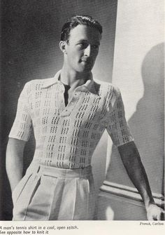 The dishrag shirt of 1931-1932  is made of fan open-weave and net like fabrics. This was popular among tennis shirts and boat-neck shirts. (Annemarie,J.)