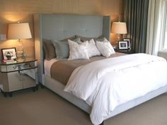 Gray, White and tan-master bedroom palette