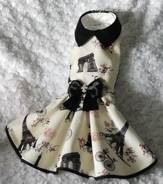 Couture Dog Dress, in Sweet Paris - Medium size on Etsy, $88.00
