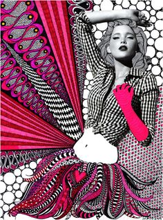 Collage and zentangle fashion illustration Art Pop, Mixed Media Photography, Art Photography, Fashion Photography, Photography Lighting, Photography Magazine, Art Design, Graphic Design Art, Media Design