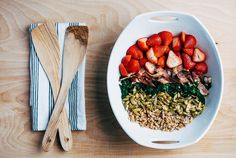 Farro, Kale, and Strawberry Salad with Bacon and Chili-Dusted Pepitas recipe: This salad piles on flavors and textures for a dinner-worthy creation. #food52