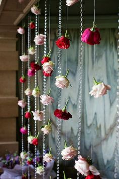 Hanging wedding flower curtains/ backdrops   See more about Flower Backdrop, Wedding flowers and Backdrops. More #weddingflowers