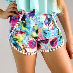 Floral pom pom shorts. So adorable!