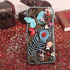 Phone case 5/ 5s butterfly jewelry colorful metal free shipping cover 001