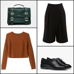 Black crepe culotte @missselfridge ~~ Bo knitted top @monkiworld ~~ Flat shoes with zip @stradivariusfan ~~ @riverisland Dark green large satchel @asos