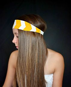 Chevron yellow and white headband hippie by TopKnotAccessories, $21.99