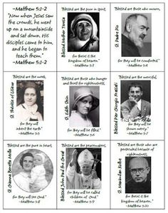 Ideas for Celebrating All Saints Day- Beatitudes and Modern Saints Card Game Catholic Religious Education, Catholic Crafts, Catholic Religion, Catholic Kids, Catholic Saints, Catholic School, Catholic Churches, Catholic Quotes, Kids Church
