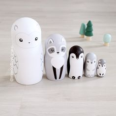 - my handpainted minimalist matryoshka nesting dolls and wooden toys for modern nursery decor and fun kids play. Handmade Wooden, Handmade Toys, Modern Nursery Decor, Christmas Figurines, Doll Maker, Wooden Dolls, Wood Toys, Diy Doll, Cool Gifts
