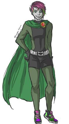 Beast Boy & Raven's son. OMG LOVE THIS PHOTO ANYONE WHO DOESN'T SHIP RAVEN AND BEAST BOY IS CRAZY!!!!!