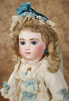 Gorgeous French Bisque Bebe A.T. by Thuillier in Very Fine Antique Costume 30,000/38,000