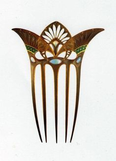 Art Nouveau Comb - so not deco but the egyptian styling fits the theme. Vintage Hair Combs, Vintage Hair Accessories, Wedding Hair Accessories, Hair Jewelry, Jewelry Art, Antique Jewelry, Vintage Jewelry, Jewellery, Wedding Jewelry