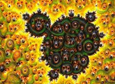 Mandelbrot fractal processed with the Google Deep Dream algorithm, dogs and eyes everywhere, surreal black and yellow image. Available as poster, framed fine art print, metal, acrylic or canvas print. (c) Matthias Hauser hauserfoto.com