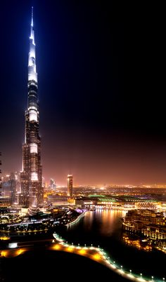 Dubai, United Arab Emirates - the Burg Kalifa. I just corks not photograph ALL of it in one pic. In Dubai - the tallest tower on earth.   ( Burg - means tower)