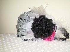 Shabby Chic Hot Pink and Black Infant headband