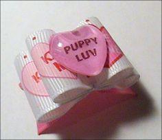 "7/8"" Valentine Puppy Luv Yellow Heart Dog Bow Yorkie Maltese Shih Tzu Fursaces"