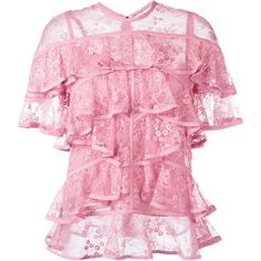 Elie Saab ruffled lace blouse (£1,700) ❤ liked on Polyvore featuring tops, blouses, pink, lacy blouses, frilly blouse, lace ruffle top, pink blouse and lacy tops