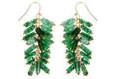Green Aventurine Ruffle Earrings on OneKingsLane.com
