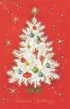 vintage white tree, christmas card, retro. Also see #beautiful #christmas screensavers at www.fabuloussavers.com/christmasscreensavers.shtml