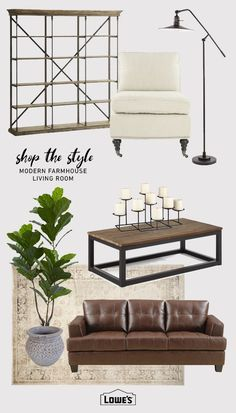 For a modern farmhouse look that's more refined than rustic, borrow from these bushel of ideas. #lighting #chair #coffeetable #rug #couch #candles