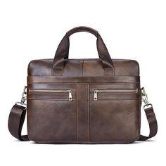 Genuine Leather Business Briefcase Large Capacity Handbag Shoulder Bag For  Men Mens Leather Laptop Bag 235c9d4ad608e