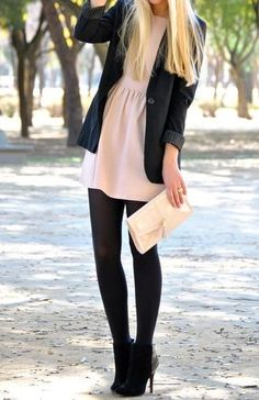Black tights, light dress, black jacket